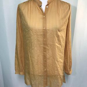 Semi Sheer Tan Camel Button Front Blouse